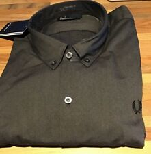 """Fred Perry : Brushed Oxford Shirt (Large 44"""") Black"""