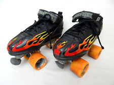 ROCK SPEED FREAKS Roller Skates Youth Size 6 Black Red Embroidered Flames