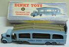 DINKY #982 PULLMORE CAR TRANSPORTER, 1ST VERSION-LIGHT BLUE, FAWN DECKS, VG+/BOX