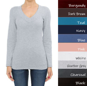 Ambiance Basic Jersey Cotton Wide Deep V-Neck Long Sleeve Casual Tee Shirt  S-3X