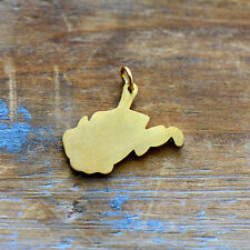 West Virginia State Charm - Brushed 24k Gold Plated Stainless Steel Pendant