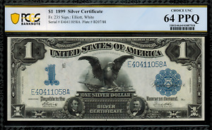 1899 $1 Silver Certificate FR-235 - Black Eagle - Graded PCGS 64 PPQ
