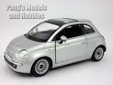 2007 New Fiat 500 1/28 Scale Diecast Model by Kinsmart - SILVER