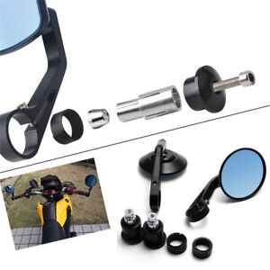 Aluminum 22mm Motorcycle Grip End Mirror Blue Rear Side View Cafe Racer Mirror