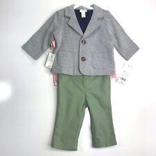 Cat & Jack Baby Boys New Born Suit Set Gray Blazer Green Pants T-Shirt Grow