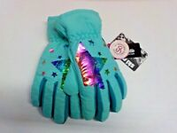 Girls Size S/M SO Brand Mint/Multicolor Star Print Ski Gloves Nwt #10699