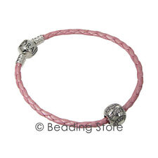 NEW Pandora Hope CZ Charm Breast Cancer Pink Leather Bracelet AUB590705CMP-S3