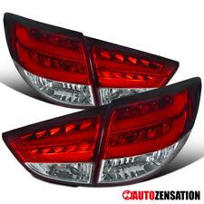 For 2010-2012 Tucson IX35 Red Tail Lights Brake Lamps Pair w/ LED DRL Bar Tube