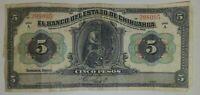 """Mexico $5 Pesos """"El Banco del Estado de Chihuahua"""" Mexican BankNote 1913 P-"""