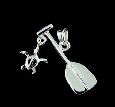 925 STERLING SILVER HAWAIIAN PADDLE DANGLE HONU SEA TURTLE PENDANT CHARM