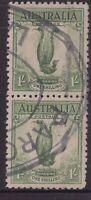 Tasmania LAUNCESTON oval parcel stamp on 2 x 1/- Lyrebird issues