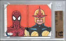 BGS 9.5 2014 Marvel Premier DUAL PANEL BOOK SKETCH Brent Ragland/SPIDER-MAN LPG