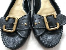 Black Leather Authentic CHLOE loafers Flats Ballerinas Shoes UK41