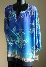 NWT $79 ELLEN TRACY TUNIC Blouse  blue multi Woman-XL