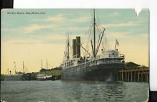 harbor scene,san pedro california postcard early 1900s as is