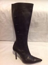 Kg By Kurt Geiger Black Knee High Leather Boots Size 39
