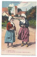 POSTCARD France Normandy women folk costumes regional fashion French old photo