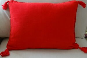 CHENILLE 40 X 55 CUSHION COVER BRIGHT RED - VERY SOFT TO TOUCH - LUMBAR OBLONG