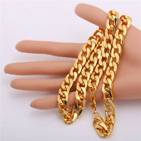 """Men Necklace Chunky 18K Real Gold Plated Link Chain 55CM 22"""" Jewelry"""