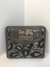 Coach Madison Small Wallet Ocelot Metallic Leather Silver Black Leather W6