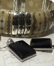 Vintage AFRICAN Incised Ox Horn Silver Bracelet & Onyx Sterling Drop Earrings