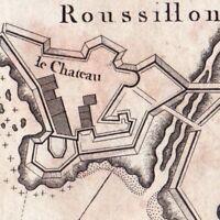 Carte XVIIIe Roussillon Collioure Cotlliure Pyrénées Orientales Château 1764