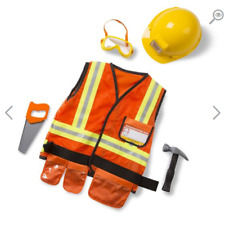 Melissa & Doug Construction Worker Role Play Costume Dress Up Set 6 pcs
