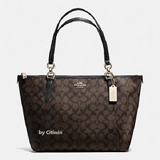 New Authentic COACH F55064 F58318 AVA Signature Tote Handbag Purse Bag Brown