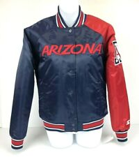 Arizona Wildcats Starter Jacket Satin Full Snap Navy & Cardinal Ladies S NWT