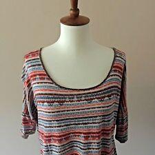 Womens Brown Orange and Aqua Blue H I P Aztec Print Crop Top Size Medium