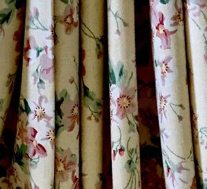 "Sanderson Fabric 1989 'Blossom In May'Light Custard&Raspberry Floral FQ 22x22"""