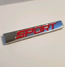 Sport Logo Badge Emblem in Red Silver Chrome Plaque Zinc Alloy Auto Car Styling