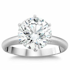 4.50 ct Round D/SI1 Natural Diamond Solitaire Engagement Ring 14K White Gold