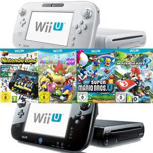 Nintendo Wii U Konsole Schwarz Weiß Spiele | Mario Kart | Mario Party 10 |