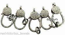 Tempting Pave Diamond 32 mm long  Oxidized Sterling Silver Lobster Lock(5 pc.)