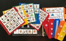 LOT 1 BOOK 200+ COMMUNICATION CARDS W/ASL SYMBOLS AUTISM SPEECH THERAPY