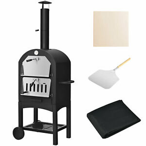 Pizza Oven Wood Fire Pizza Maker Grill Outdoor w/ Pizza Stone & Waterproof Cover