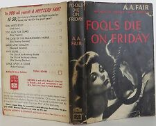 EARLE STANLEY GARDNER Fools Die On Friday FIRST EDITION