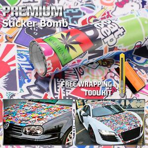 Stickerbomb Folio para Coche 3D Car-Wrapping Canales de Aire Cartoon Logos /&