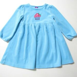 J Khaki Dress Girls sz 3T blue pink Winter Christmas Cupcake Long sleeve Velour