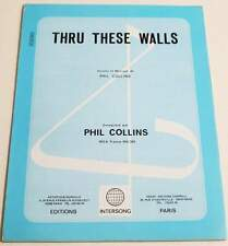 Partition vintage sheet music PHIL COLLINS : Thru These Walls * 80's Genesis