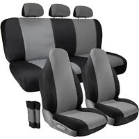 10 Piece Car Seat Cover Protector Full Set  for Auto Truck SUV Van - Gray