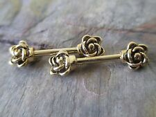 Full Set Gold IP Roses Barbell Nipple Shields Piercings