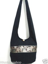 Women Shoulder Bag Tote Purse Crossbody Messenger Hobo Cotton Black Large School