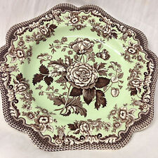 """SPODE BLUE ROOM GARDEN COLLECTION FANCY SALAD PLATE 9"""" BROWN ROSA MINT GREEN"""