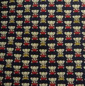 Blue Red Cream Elephants Silk Tie
