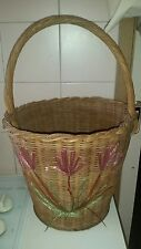 VINTAGE CANE WICKER CARRY BASKET WITH HANDLE * FIREWOOD * SHOPPING * FLORAL