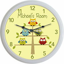 Owls in tree Baby Child Nursery Owl Custom Personalized Wall Clock New 10""