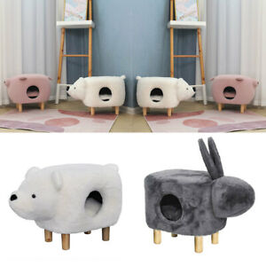 Pet Ottoman Stool Footstool Side Chair Cat Kitten Igloo House Bed With Cushion