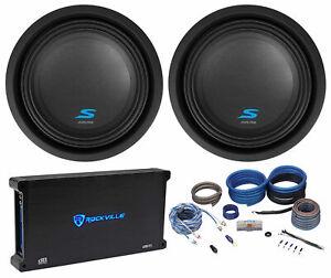 """(2) ALPINE S-W10D2 10"""" 1800w Car Audio Subwoofers Subs+Mono Amplifier+Amp Kit"""